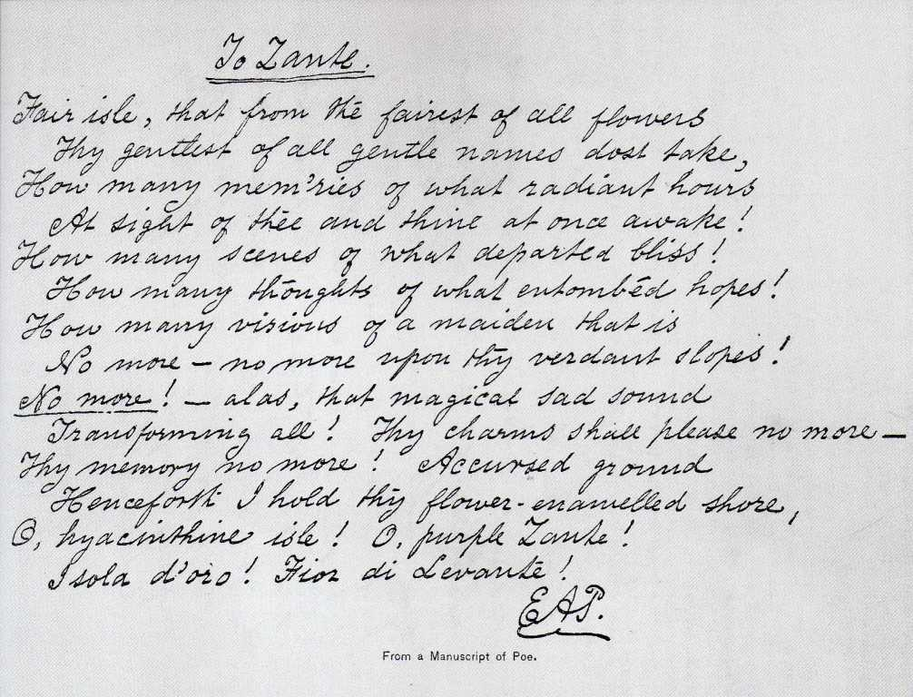 Edgar Allan Poe's handwriting