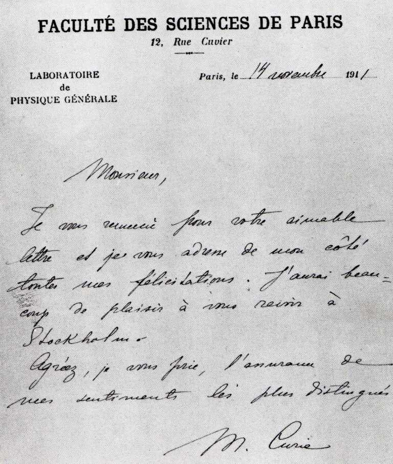 Marie Curie's Handwriting
